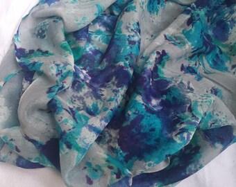 Blue Silk-Wool stole