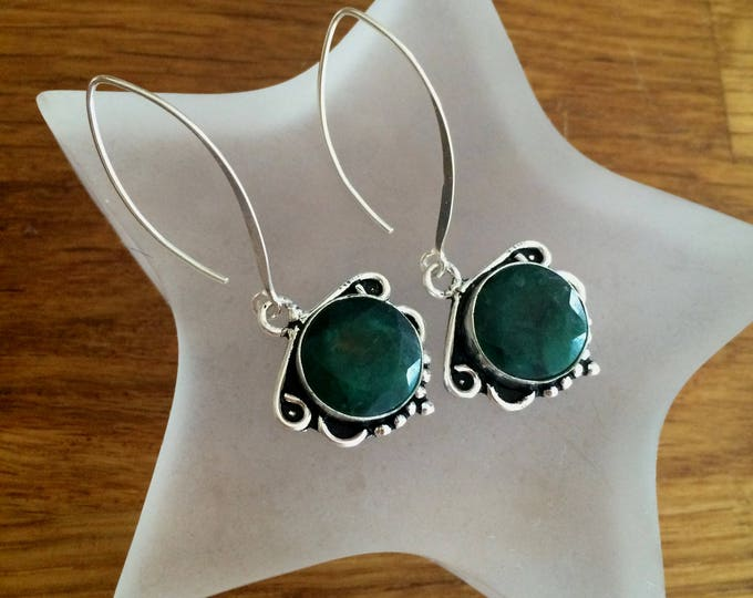 Long Sterling Silver green Emerald earrings - May birthstone jewellery jewelry gift
