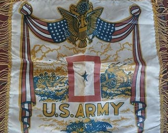 Inventory Sale Vintage WW2 US Army Camp Edwards Pillow Case Cover