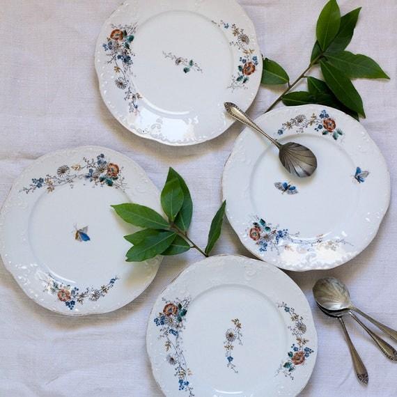 French Garden Dessert Plates - set of 4