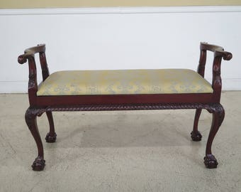 29587EC: Chippendale Flip Seat Claw Foot Mahogany Bench