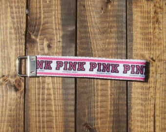 "Pink VS Fashion Brand Logo keychain wristlet with white cotton webbing | 3"" or 6 "" | gifts under 10 bucks"