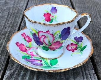 Royal Standard Fair Lady Tea Cup and Saucer Set England Pink Purple Flowers Gold Trim Floral English Vintage Tea Party
