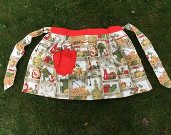 Vintage Half Apron with French Country Kitchen Design Retro Farmhouse Apron with Red Trim Hostess Apron Vintage Kitchen