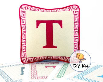Initial needlepoint kit, Initial tapestry pillow, Monogram custom needlework kits, Hand-painted canvas, Greek key border, 13x13 Five colours