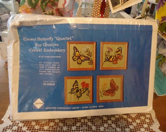 Vintage Lee Wards Crewel Embroidery Kit Butterfly Quartet Four Pictures to Stitch with Frames New/Old Open but Complete