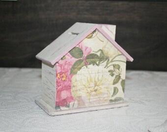 Money box, Savings box, savings house, roses, house, vanilla, pink
