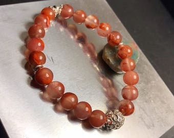 Beautiful jasper agate bracelet handmade with sterling silver beads