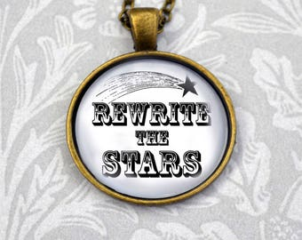 The Greatest Showman inspired Rewrite the Stars necklace in antique bronze