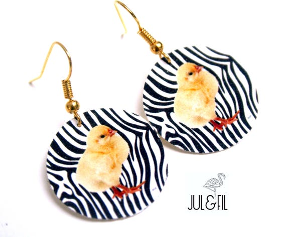 Zebra earrings chick on print