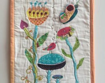 Mini quilt - wall decor - textile decoration