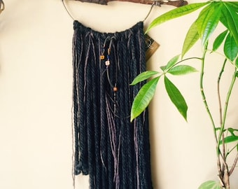 Stick Dream Catcher with Ash-Grey and Black Fringe