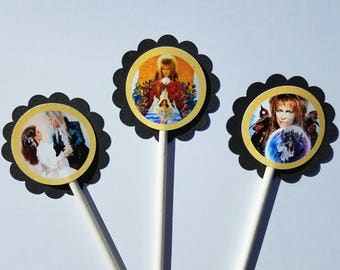 Set of 12 Labyrinth Themed Cupcake Toppers