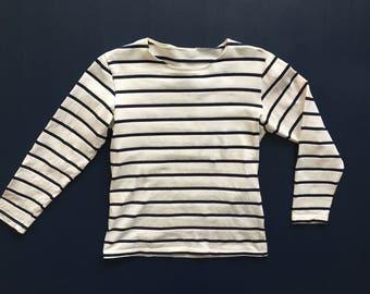 White and Navy Stripe Cotton Top Women's S