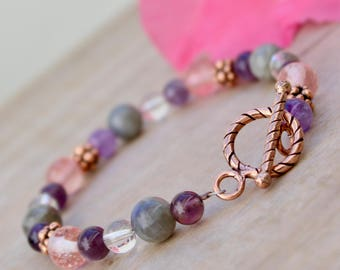 Boho Bracelet, Bohemian bracelet, Beaded bracelet, Stone bracelet, Natural stone jewelry, Stacking bracelet, Pink bracelet, Handmade Gift