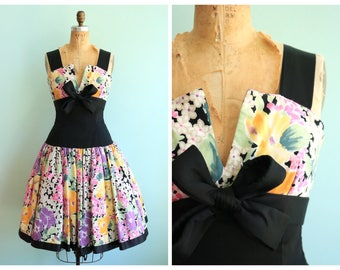 Vintage 1980's Floral Party Dress | Size Small
