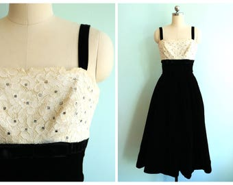 Vintage 1950's Velvet and Lace Party Dress | Size Extra Small