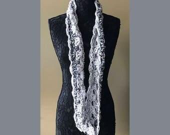 "Infinity Crochet Grey White ""Seagull"" - Handmade Crochet - 57"" Circumference x 4"" Wide - Item S6"