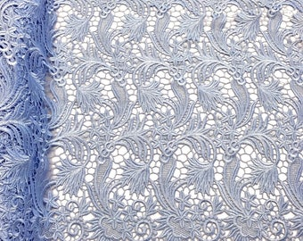 """Blue Daphne Guipure French Venice Lace Embroidery 52"""" inches wide many colors"""