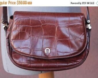Summer Sale 1970's Etienne Aigner Brown Embossed Crocodile Leather Bag