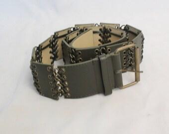 1980's Khaki Green Leather Belt - Size 90