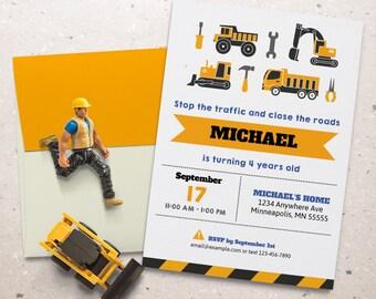 Construction Birthday Invitation. Kids Birthday Party. Personalized - Digital / Printable File