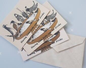 Vintage bird bath greeting cards (3)