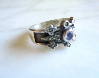 16,5 mm silver ring with amethyst