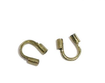 ON SALE 50 Count Antique Brass/Bronze Plated 5mm x 5mm Wire Guardians, Wire Protectors (WG-55-Ab)