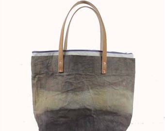 Large Waxed Cotton Canvas Tote Bag w/Liner - Grey/Beige - Leather Handles