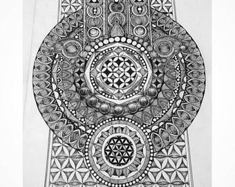 A3 Hand of Fatima Original Mandala Drawing
