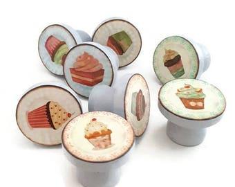 SUMMER SALE Vintage Cupcakes Drawer Knobs