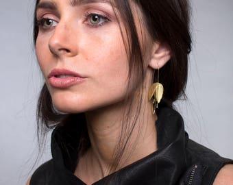 Handmade Sand-Brushed Delicate Gold Plated Flower Earrings