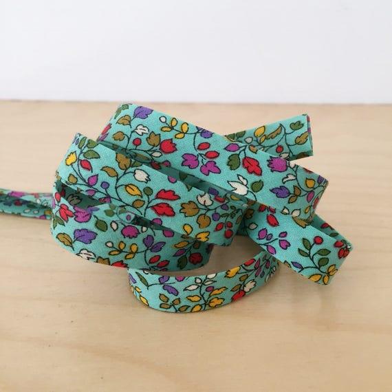 "Bias Tape in Moda Regent Street Floral Cotton 1/2"" double-fold bias tape- 3 yard roll"