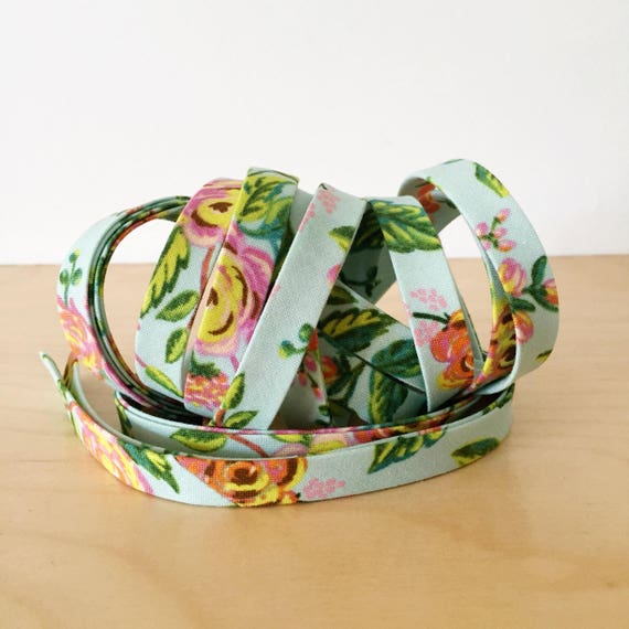"Bias Tape- Cotton + Steel Rifle Paper Co Menagerie Mint Jardin floral cotton 1/2"" double-fold binding- 3 yard roll"