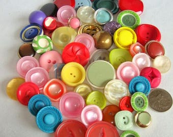 69 Buttons, Vintage Plastic Buttons, Green, Yellow, Purple, Pink, Red Shades Assorted sizes
