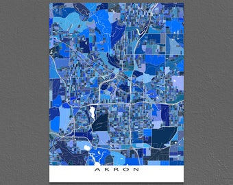 Akron Map Print, Akron Ohio, USA City Art Prints, Blue