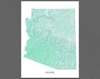 Arizona Map Print, Arizona State, Aqua, AZ Landscape Art