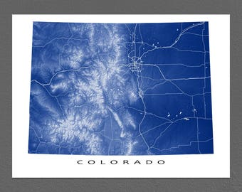 Colorado Map, Colorado State Art Print, USA State Outline Map Poster