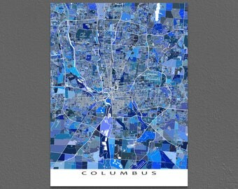 Columbus Map Art Print, Columbus Ohio, City Street Map