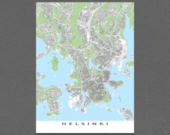 Helsinki Finland Map Print, Helsinki City Maps, Building Art