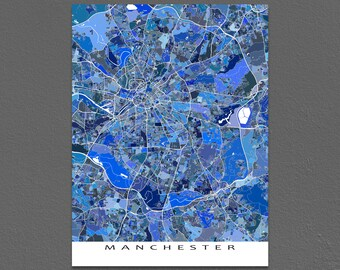 Manchester England Map Print, Manchester UK United Kingdom, City Map Art