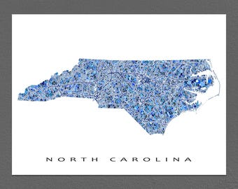 North Carolina Map Print, North Carolina State Art, NC Wall Decor