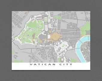 Vatican City, Vatican Map Art Print, Rome Italy Travel Print