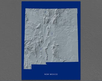 New Mexico Map, New Mexico Wall Art, NM State Art Print, Landscape, Navy Blue
