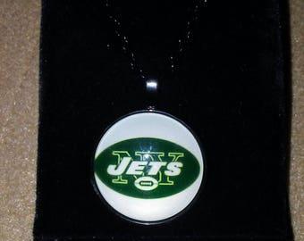 NFL New York Jets Glass Dome Pendant Necklace
