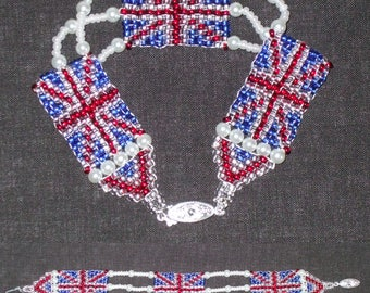Union Jack Beaded Bracelet