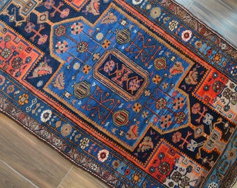 """Vintage Hand Knotted Persian Tribal Rug with Central Medallion // 4' 3"""" x 7' 4"""" // Navy Blue Red Orange"""