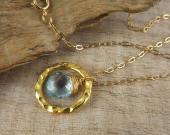 Topaz gemstone pendant~gemstone necklace~wire wrapped pendant~gold vermeil pendant~minimalist jewellery~layering pendant~gemstone pendant