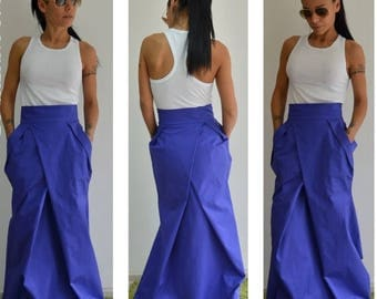 ON SALE Woman high waist blue skirt /Spring Long skirt /  Woman cotton long skirt / Long skirt